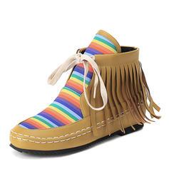 Femmes Similicuir Talon plat Chaussures plates Bout fermé Bottes Bottines avec Tassel chaussures
