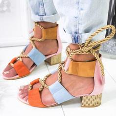 Frauen Kunstleder Stämmiger Absatz Sandalen Absatzschuhe Peep Toe mit Zuschnüren Schuhe