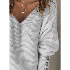 Μονόχρωμο V-λαιμός Μακρυμάνικο Καθημερινό Блузки