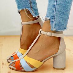 Női PU Chunky sarok Szandál Magassarkú Peep Toe Sarok -Val Csat cipő