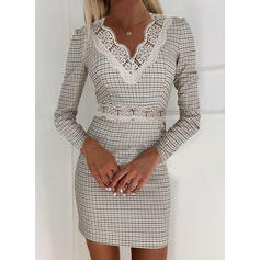 Blonde/Plaid Lange ærmer Bodycon Over knæet Elegant Kjoler
