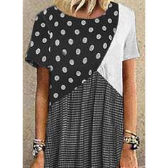 Print/Color Block/PolkaDot Short Sleeves Shift Casual Maxi Dresses