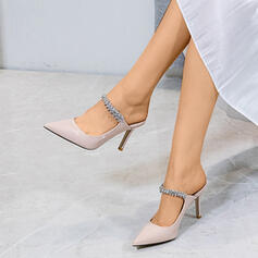 Women's Leatherette Stiletto Heel Sandals Pumps With Rhinestone shoes