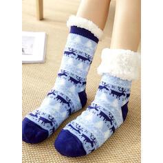 Print/Rendier van Kerstmis Warme/vrouwen/Kerstmis/Crew sokken/Antislip Sokken