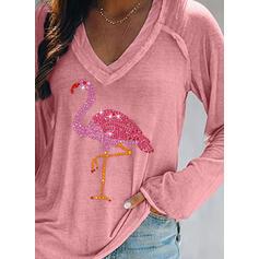Animal Print Sequins V-Neck Long Sleeves T-shirts