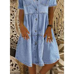 Solid Short Sleeves Shift Knee Length Casual/Denim Shirt Dresses
