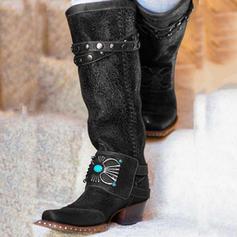 Kvinner PU Lav Hæl Støvler med Rivet sko