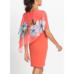 Tisk/Květiny Krátké rukávy Přiléhavé Nad kolena Neformální/Elegantní Šaty