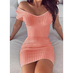 Solid Short Sleeves Bodycon Above Knee Sexy/Party Dresses