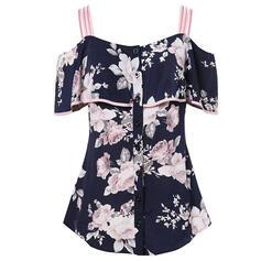 Impresión Floral Top sin Hombros Sin mangas Casual Blusas