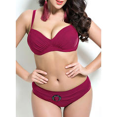 Solid Color Underwire Low Waist Strap Sexy Plus Size Bikinis Swimsuits