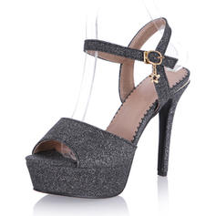 Women's Sparkling Glitter Stiletto Heel Sandals Pumps Platform Peep Toe Slingbacks With Buckle shoes