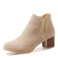 Femmes Suède Talon bottier Escarpins Bout fermé Bottes Bottines avec Semelle chaussures