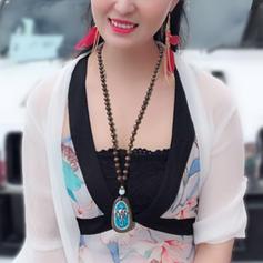 Unique Cotton String Wooden Beads Copper Ladies' Fashion Necklace
