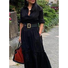 Einfarbig Lange Ärmel A-Linien Hemd Kleine Schwarze/Freizeit Maxi Kleider