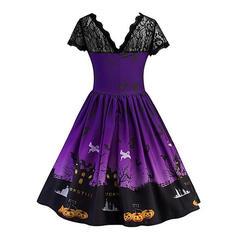 Print Short Sleeves A-line Knee Length Vintage/Party Dresses