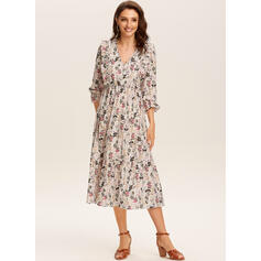 Print/Floral 3/4 Sleeves A-line Skater Casual/Elegant Midi Dresses