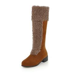 Femmes Suède Talon bas Bottes Bottes hautes avec Semelle chaussures