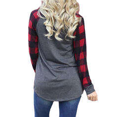 Print Plaid Rund hals Lange ærmer Casual Jul T-shirts