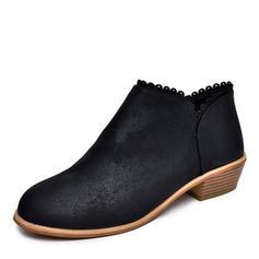Kvinnor PU Låg Klack Pumps Stängt Toe Stövlar skor