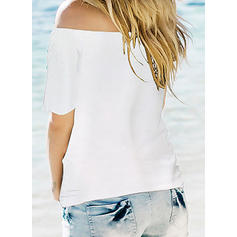 Print Off the Shoulder Short Sleeves Casual Sexy Knit Blouses