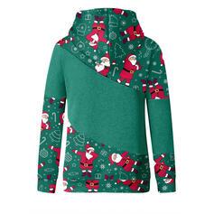 Boże Narodzenie Nadruk Golf Długie rękawy Bluza z kapturem