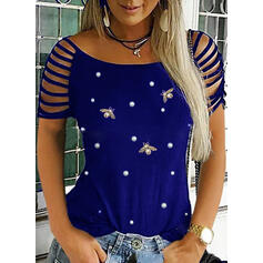 Animal Print Beaded Round Neck Short Sleeves Casual Blouses