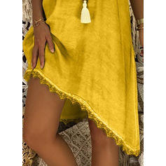 Lace/Solid Sleeveless Shift Asymmetrical Casual/Vacation Dresses