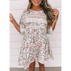 Lace/Print/Floral 3/4 Sleeves Shift Above Knee Casual/Vacation Tunic Dresses
