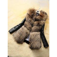 Skórzany Długie rękawy Szerokie Płaszcze