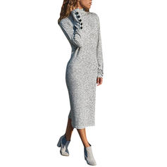 Solid Long Sleeves Sheath Midi Casual Dresses
