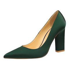Жіночі Атлас Квадратні підбори Насоси Закритий палець взуття