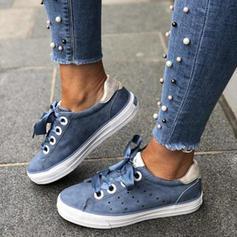 Mulheres PU Casual Outdoor com Aplicação de renda Oca-out sapatos