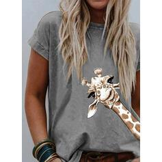Estampado Animal Cuello redondo Manga corta Casual Camisetas