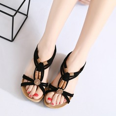 Women's Suede Wedge Heel Sandals Peep Toe Slingbacks With Buckle Split Joint shoes