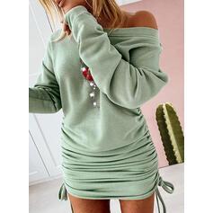 スパンコール 長袖 ボディコンドレス 膝上 クリスマスドレス/カジュアル スウェットシャツ ドレス