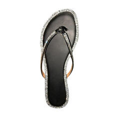 Women's PU Flat Heel Sandals Flip-Flops Slippers With Rhinestone shoes