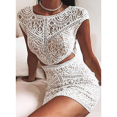 Lace Short Sleeves Bodycon Above Knee Sexy/Casual Dresses