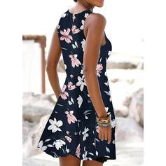 印刷/フローラル ノースリーブ シフトドレス 膝上 カジュアル/休暇 タンク ドレス