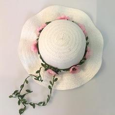 Bambino di Bella Malacca paglia con Fiore di seta Cappello floscio/Cappello di paglia/Cappelli da Tea Party