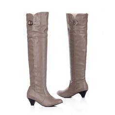 Femmes Similicuir Talon bas Cuissardes chaussures