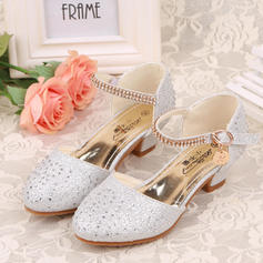 Girl's Leatherette Low Heel Closed Toe Flower Girl Shoes With Rhinestone