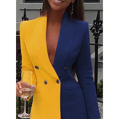 Χρωματιστό Μπλοκ Μακρυμάνικο Κολλητό Πάνω Από Το Γόνατο Καθημερινό/Κομψό Сукні