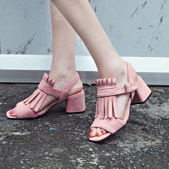 Women's Suede Stiletto Heel Sandals Pumps With Tassel shoes