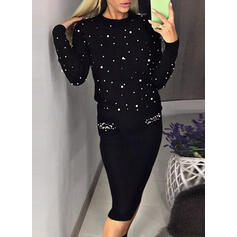 Solid/Beaded Long Sleeves Bodycon Sweater/Pencil Little Black/Casual Midi Dresses