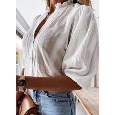 Solid V-Neck 1/2 Sleeves Button Up Elegant Shirt Blouses