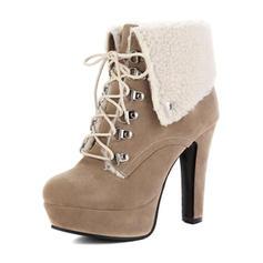 De mujer Ante Tacón stilettos Salón Plataforma Botas al tobillo con Cordones zapatos