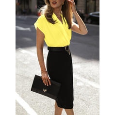 Color Block Short Sleeves Bodycon Knee Length Casual/Elegant Dresses