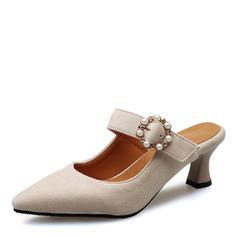 Femmes Suède Talon stiletto Escarpins Bout fermé Escarpins avec Boucle chaussures