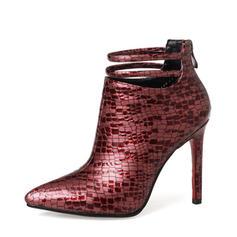 Femmes Cuir en microfibre Talon stiletto Escarpins Bottines avec La copie Animale Zip chaussures